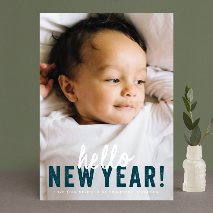 """""""hello Christmas"""" - Christmas Photo Cards in Mint by Sara Hicks Malone."""