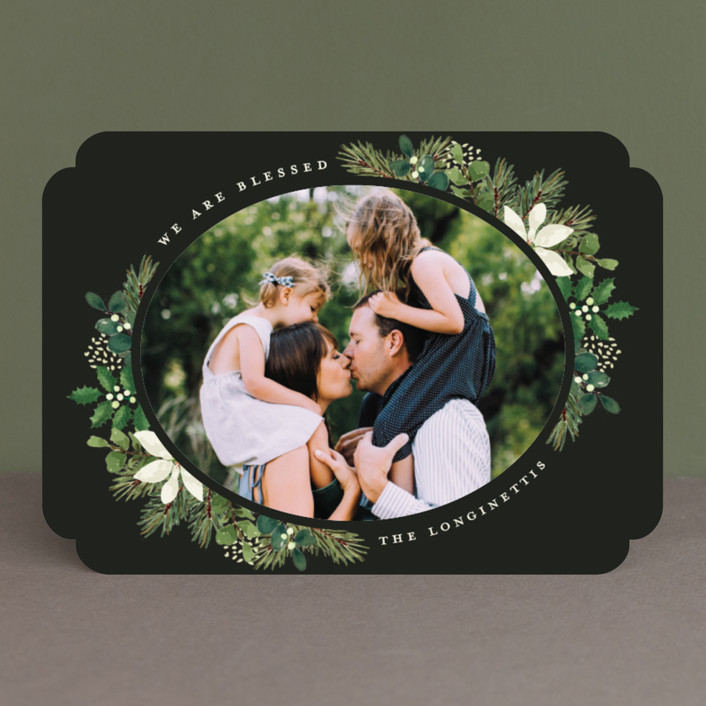 """""""Poinsettia Greens"""" - Christmas Photo Cards in Ebony by Chris Griffith."""
