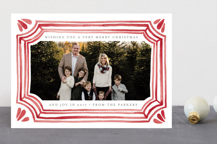 """Painted Vintage Frame"" - Christmas Photo Cards in Crimson by Katharine Watson."