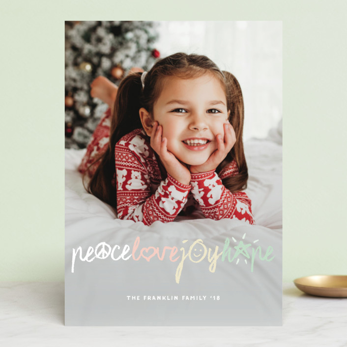 """""""Peace Love Joy Hope Symbols"""" - Christmas Photo Cards in Cotton Candy by fatfatin."""