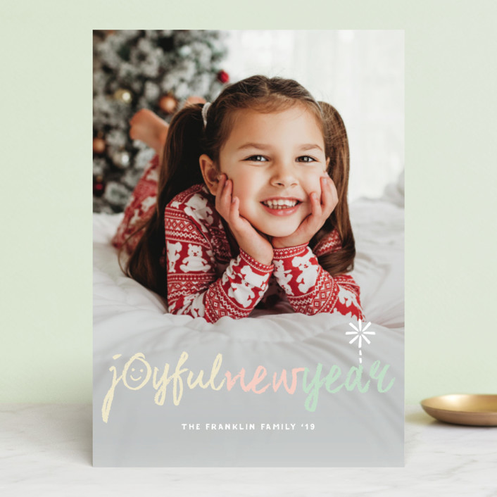 """Peace Love Joy Hope Symbols"" - Christmas Photo Cards in Cotton Candy by fatfatin."