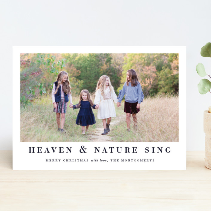 """Classic Hymm"" - Christmas Photo Cards in Royal by Jennifer Lew."