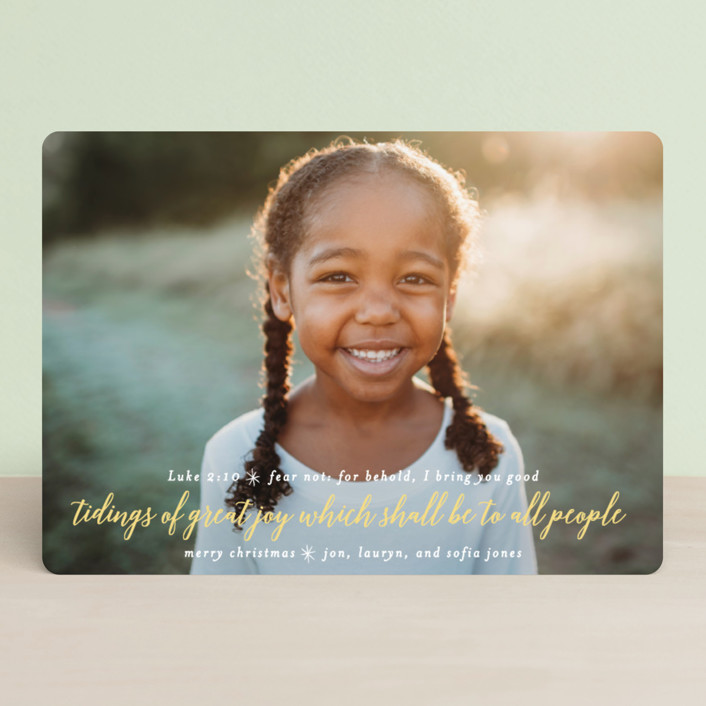 """""""Tidings of Joy"""" - Christmas Photo Cards in Eggnog by Krissy Bengtson."""