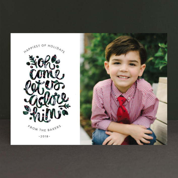 """Adore Him"" - Modern Christmas Photo Cards in Candy by JeAnna Casper."