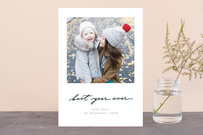 """""""Believe Simply"""" - Christmas Photo Cards in Wreath by Everett Paper Goods."""