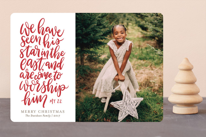 """Eastern Star"" - Christmas Photo Cards in Berry Red by Erin Niehenke."