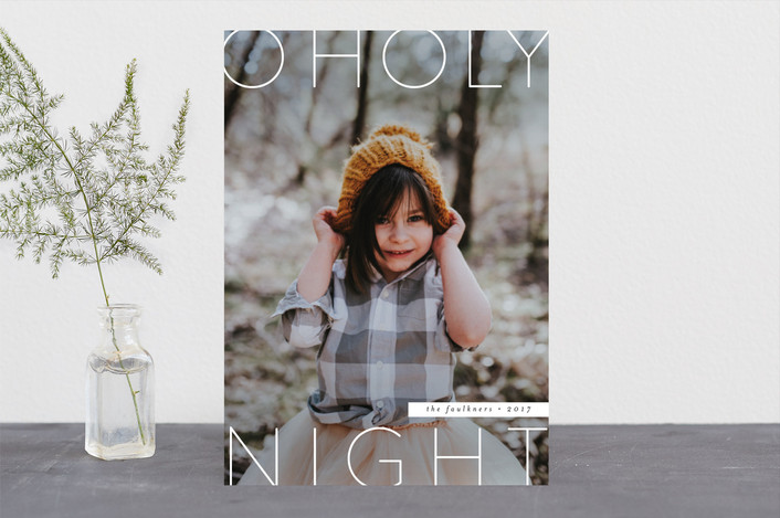 """""""Modern O Holy Night"""" - Christmas Photo Cards in Snow by peony papeterie."""