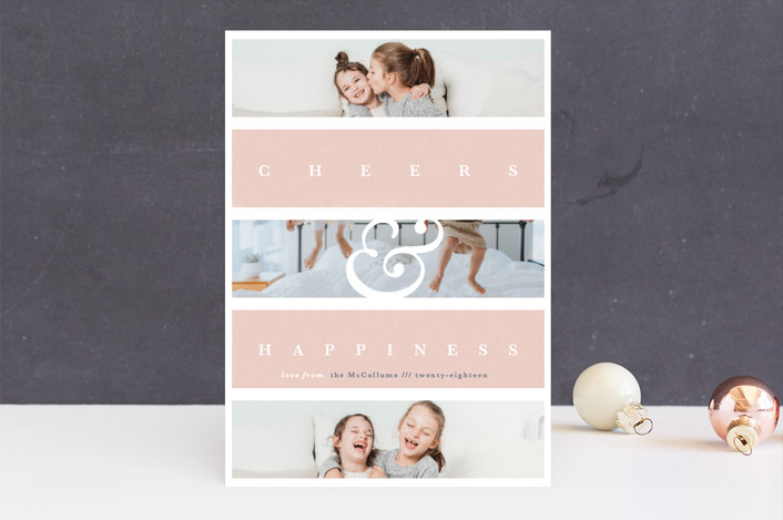 """Family Faith"" - Christmas Photo Cards in Blush by Gwen Bedat."