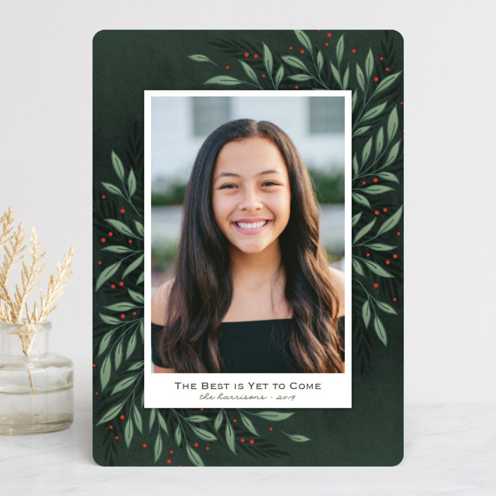 """""""Classic Greenery"""" - Christmas Photo Cards in Smoke by Lorent and Leif."""