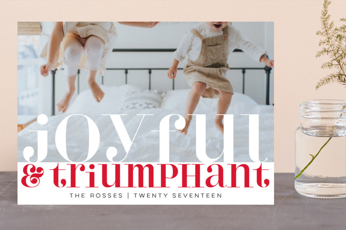 """Bright Triumphant"" - Christmas Photo Cards in Rouge by Kate Ross."