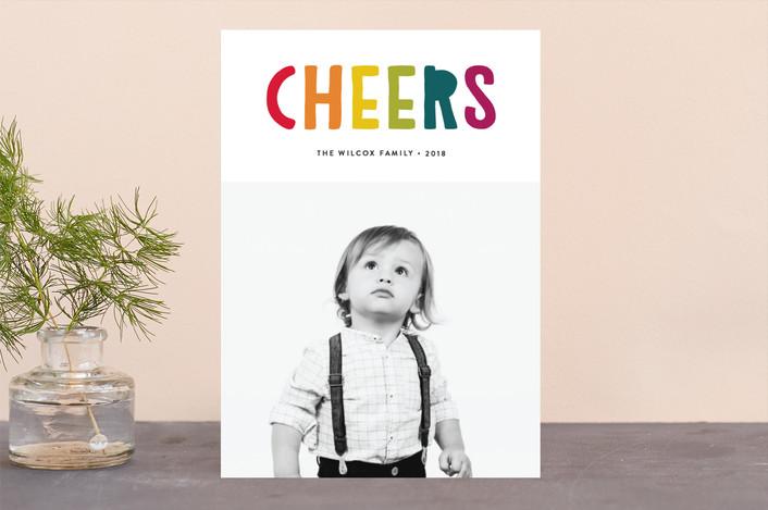 """Bright Rejoice"" - Modern Christmas Photo Cards in Rainbow by Erica Krystek."
