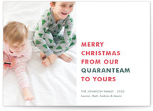 This is a green photo christmas card by Toast & Laurel called The Quaranteam with standard printing on smooth signature in standard.