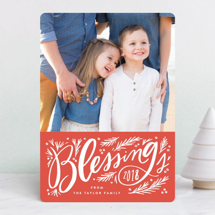 """Big Blessing Script"" - Christmas Photo Cards in Candy Cane by Alethea and Ruth."