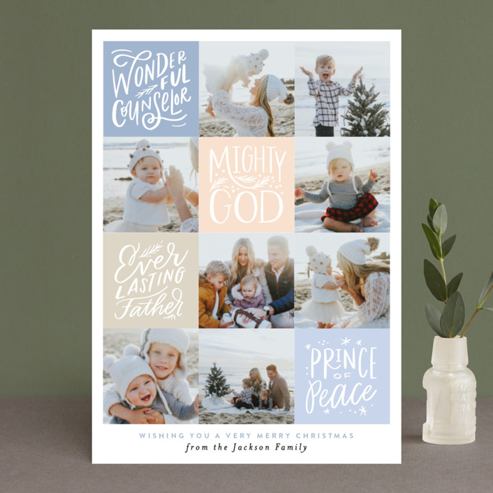 """""""His Name will be called Squares"""" - Christmas Photo Cards in Cranberry by Alethea and Ruth."""