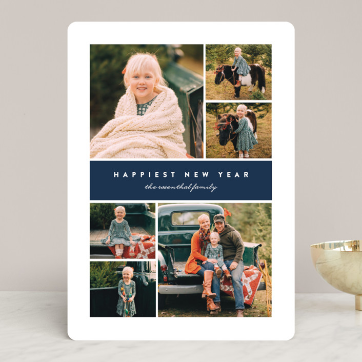 """Many Christmas Blessings"" - Christmas Photo Cards in Navy by Erica Krystek."
