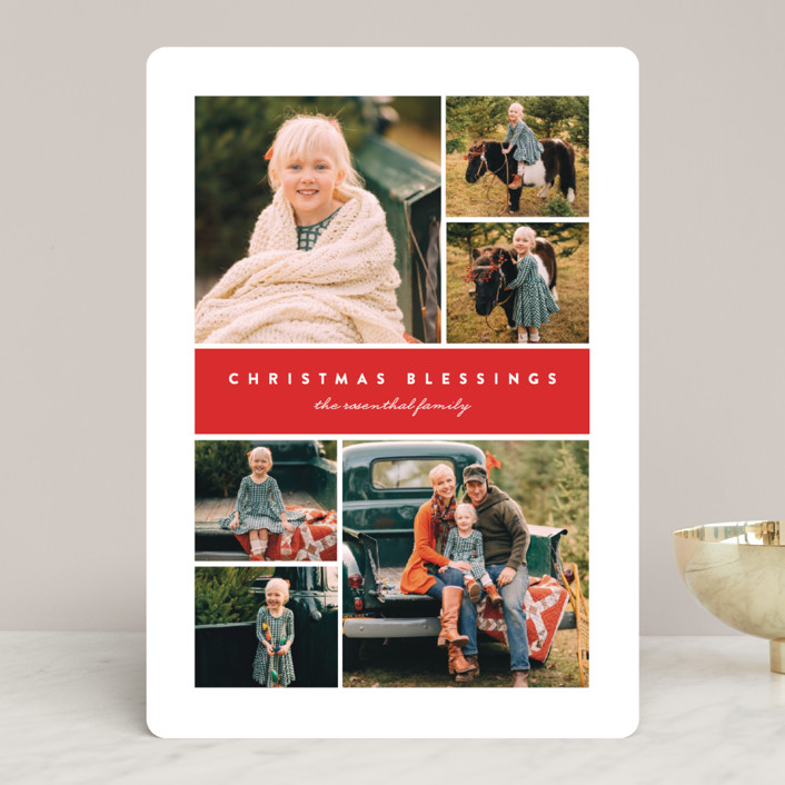 """""""Many Christmas Blessings"""" - Christmas Photo Cards in Poinsettia by Erica Krystek."""
