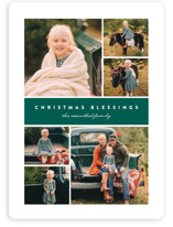 This is a green photo christmas card by Erica Krystek called Many Christmas Blessings with standard printing on smooth signature in standard.
