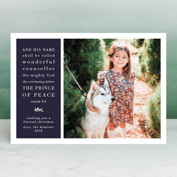 """Classic Isaiah"" - Christmas Photo Cards in Navy by Amy Payne."