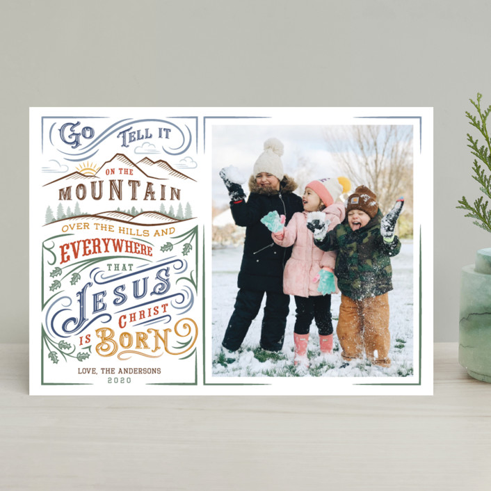 """Go Tell it on the Mountain"" - Vintage Christmas Photo Cards in Winter Night by Paper Sun Studio."