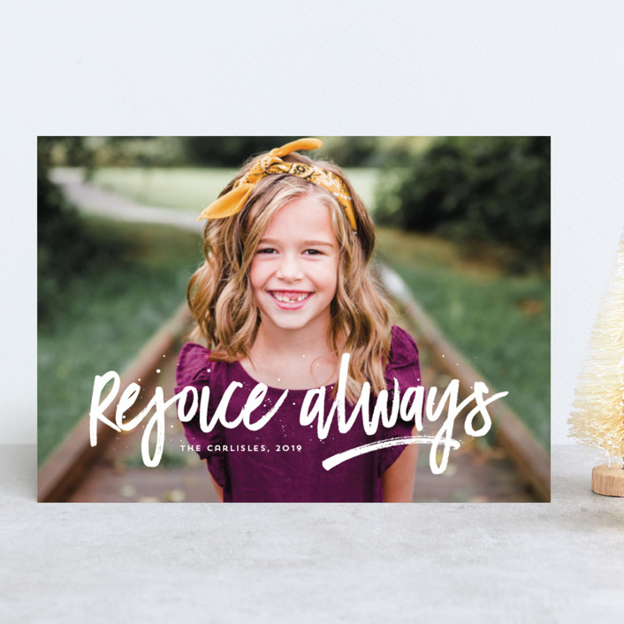 """Rejoice Always"" - Modern Christmas Photo Cards in Cloud by Lea Delaveris."