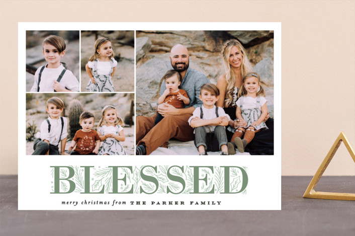 """""""Blessing Letter Pines"""" - Christmas Photo Cards in Pistachio by Alethea and Ruth."""