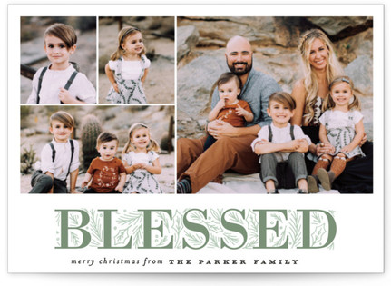 Blessing Letter Pines Christmas Photo Cards