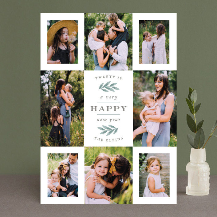 """Eight Great Snaps"" - Christmas Photo Cards in Sage by Hooray Creative."