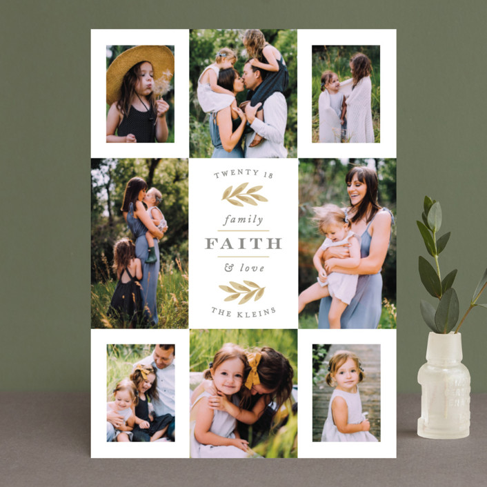 """""""Eight Great Snaps"""" - Christmas Photo Cards in Antique Gold by Hooray Creative."""