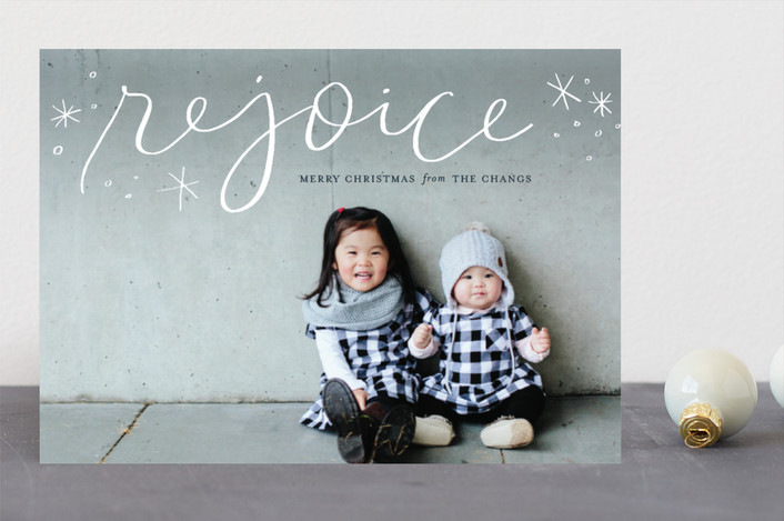 """Legato Rejoice"" - Christmas Photo Cards in Marshmallow by Frooted Design."
