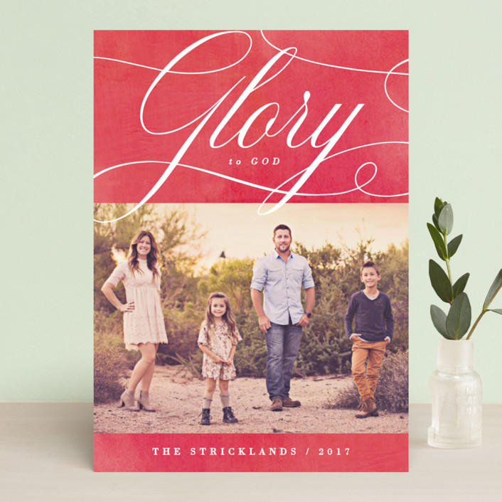 """""""Glory Scripted"""" - Christmas Photo Cards in Poinsettia by Hooray Creative."""