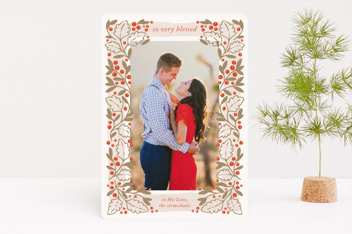 """Wreathed in Blessings"" - Bohemian Christmas Photo Cards in Clementine by Paper Raven Co.."