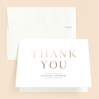 Golden Blessing Baptism and Christening Thank You Cards