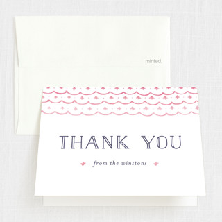Painted Lace Baptism and Christening Thank You Cards