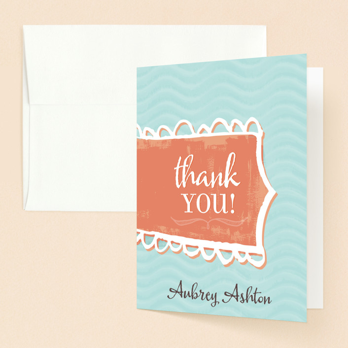 """""""Washed By The Water"""" - Whimsical & Funny Baptism And Christening Thank You Cards in Persimmon by Stacy Kron."""