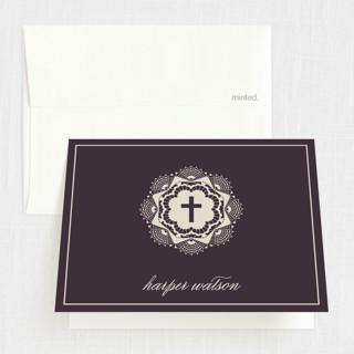 Grand Lace Baptism and Christening Thank You Cards