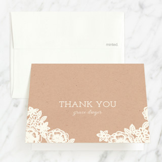 Lace and Kraft Baptism and Christening Thank You Cards
