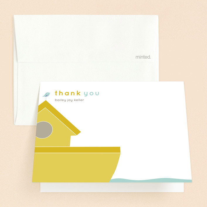 """""""Noah"""" - Baptism And Christening Thank You Cards in Mustard by R studio."""