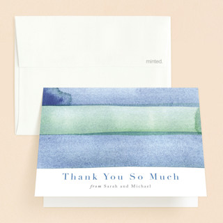 watercolor stripes Baptism and Christening Thank You Cards
