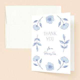 Botanical Frame Baptism and Christening Thank You Cards