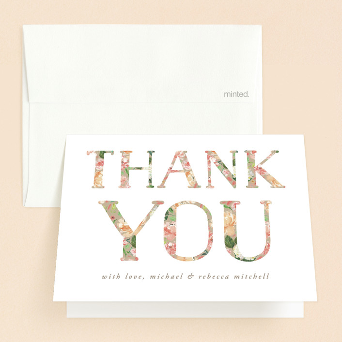 """Floral Filled Baptism"" - Baptism And Christening Thank You Cards in Cream by Becky Nimoy."