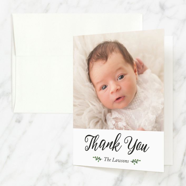 """""""Belonging"""" - Baptism And Christening Thank You Cards in Cream by Basil Design Studio."""