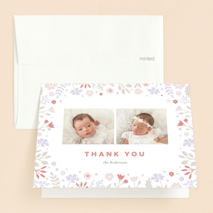 """pastel florals"" - Baptism And Christening Thank You Cards in Blush by Jana Volfova."