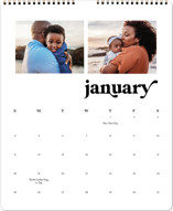 This is a white photo calendar by Leah Ragain called Simple Statement printing on premium calendar paper in grand.