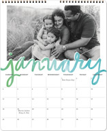 This is a blue photo calendar by Alethea and Ruth called Painted Script printing on premium calendar paper in grand.