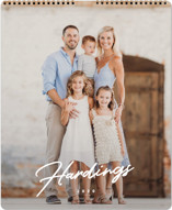 This is a white photo calendar by Erin L. Wilson called Jotted Grand printing on premium calendar paper.
