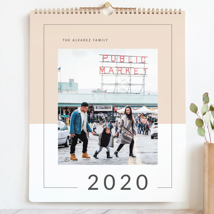 """Memo Block Grand"" - Modern Photo Calendars in Soft Peach by Kimberley Henze."