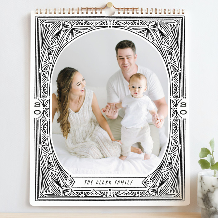 """Ink Detailing Frame Grand"" - Modern, Simple Photo Calendars in Midnight by Shiny Penny Studio."