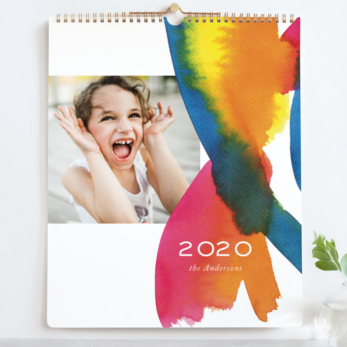 """""""Colourful watercolor Grand"""" - Whimsical & Funny Photo Calendars in Raspberry by Alexandra Dzh."""