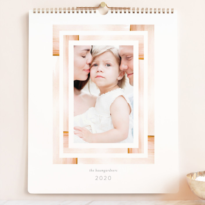 """Aztec Frame Grand"" - Whimsical & Funny, Modern Photo Calendars in Dusty Rose by Baumbirdy."