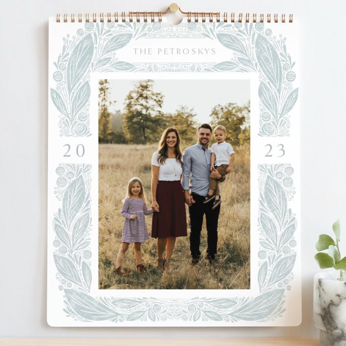 """Vintage Floral"" - Photo Calendars in Powder Blue by Jen Owens."